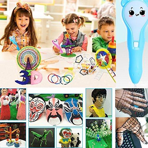 Friencity 3D Druck Stift für Kinder Erwachsene, PCL Niedrigtemperatur, wiederaufladbare 3D Doodler Drawing Drucker Stift mit LED-Licht, 10pcs Zeichnung Vorlagen und 10M PCL Filamente für Kunsthandwerk - 7