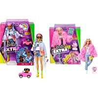 Barbie Extra Bambola Con Giubbotto Di Jeans, Cagnolino, Trecce Arcobaleno E Tanti Accessori & Extra Bambola Con Bionda…