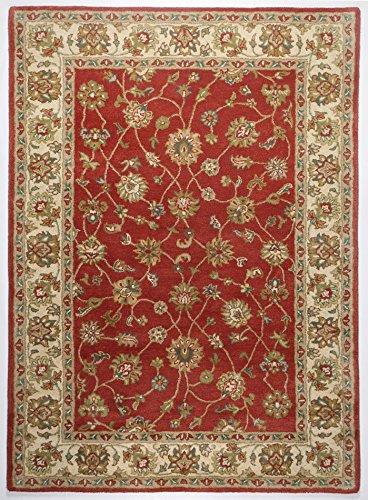 THEKO Klassischer Handgetufteter Designer Teppich Farbe Rost Creme Groesse auswaehlen 90 x 160 cm - Rost Farbe, Teppiche