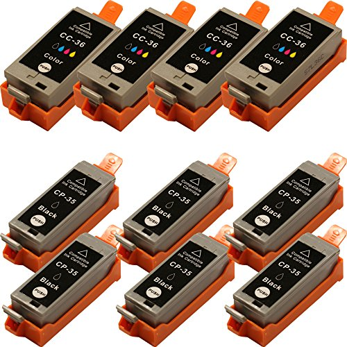 ean code drucker 10 Druckerpatronen kompatibel für Canon Pixma iP100 (Patronen 6 x Schwarz - 4 x Color mit Chip)