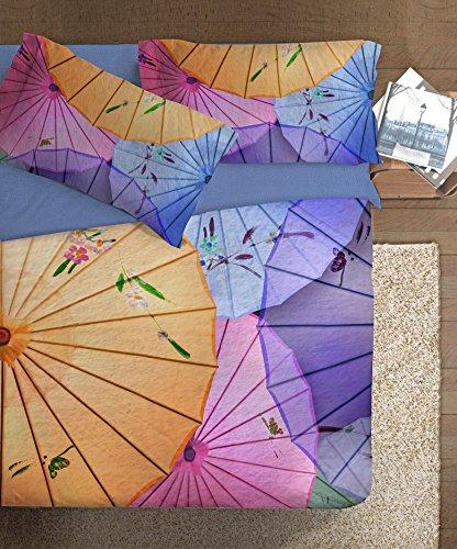 Ipersan Oriental Parure - Copripiumino fotografico, Piazzato, Fine Art, Matrimoniale, Cotone, Azzurro/Rosa/Giallo