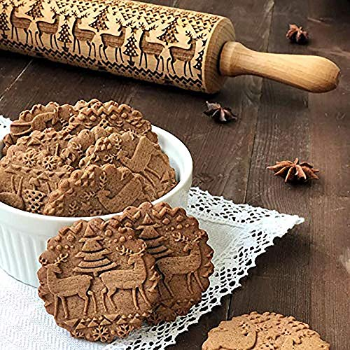 EUYOUZI Christmas Rolling Pin Engraved Carved Wood Embossed Rolling Pin Kitchen Tool (A) Grip Non Stick Rolling Pin