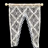 Dollhouse Curtains Miniature Furniture Accessories Window Valance with Rod 1:12 Scale (A)