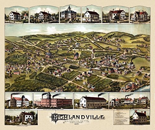 The Poster Corp Antique Map of Highlandville Massachusetts 1887 County Kunstdruck (45,72 x 60,96 cm) - 1887 Antique Map