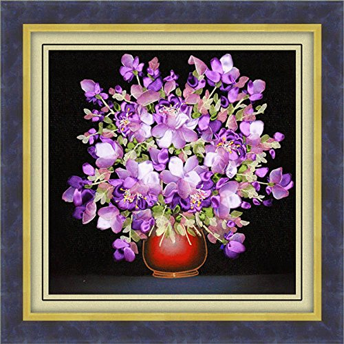 Bazaar 50x50cm 3D Seidenband lila Blumen Kreuz Stich Kit Stickerei DIY Handarbeit Home Decoration