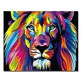 Holzrahmen, Farbe nach Zahlen DIY Ölgemälde Bunte Löwe Leinwand Druck Wand Kunst Home Dekoration von Rihe