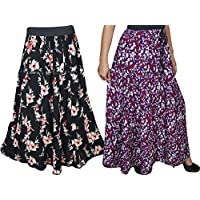 Mogul Interior Boho Chic Womens Bohemian Skirt Printed Flirty Flared Hippie Long Skirts Wholesale 2 Lot