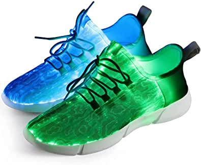 Fibra Ottica Scarpe, Certificato CE A-Best Scarpe LED 7 Colori 4 MODS USB Ricaricabile Light Up Scarpe Super Leggero Sneaker LED per Uomo e Donna