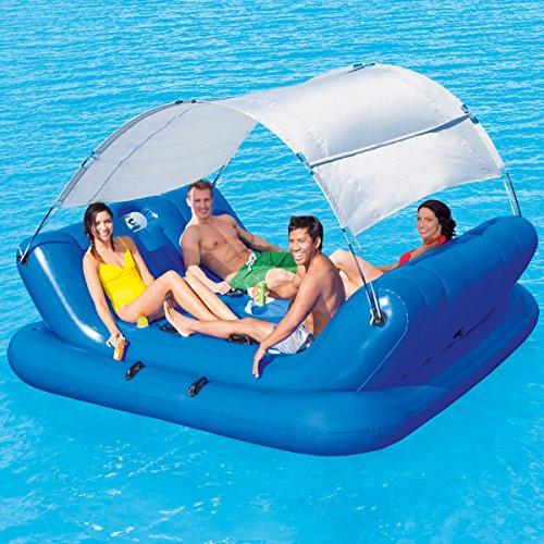 Badeinsel für 4 Personen mit Sonnenschutz CoolerZ Rock-N-Shade, 272x196 cm • Schwimminsel aufblasbar Poolinsel Luftmatratze Pool Lounge