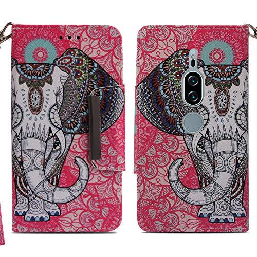 Ooboom Sony Xperia XZ2 Premium Hülle Flip Folio PU Leder Schutzhülle Handy Tasche Case Wallet Brieftasche Cover Ständer Kickstand Magnetverschluss mit Trageschlaufe - Ethnische Elefant