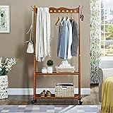 LPYMX Kleiderbügel auf Rädern Wäscheständer für Schlafzimmer (Farbe : Nussbaum)