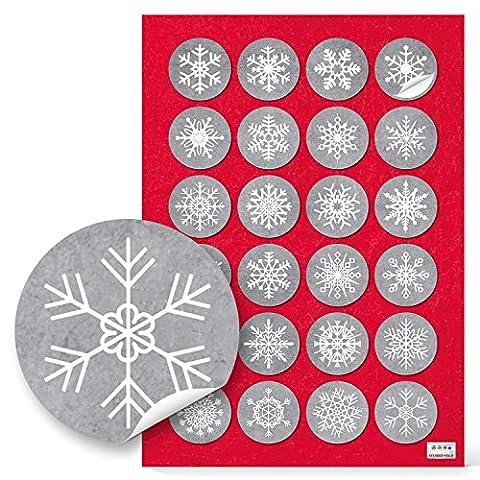 24 weiß graue Schneeflocken Aufkleber rund mit 4 cm zu