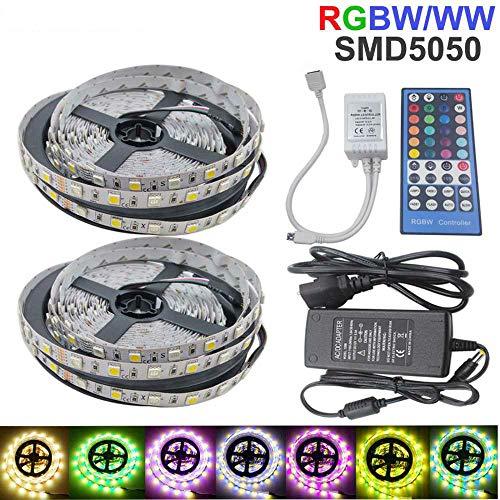 YSNMM 5050 Rgbw Led-Lichtleiste RGB + Warm/Weiß 10M 60Led Flexibel Wasserdichtes Neon-Tira-Band 40Key Controller Dc 12V Adapter Set