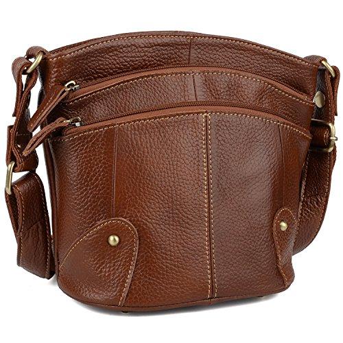 Yaluxe Damen Umhängetasche Rindsleder Echtleder Multi Reißverschluss Mini Geldbörse klein Umhängetasche braun - Mini-satchel