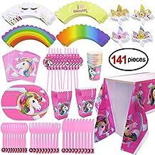 Konsait Kit de mesa Party Fiesta de unicornio cumpleaños, (141 piezas: juego de