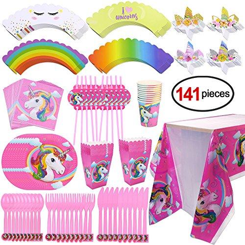 Konsait Kit de mesa Party Fiesta de unicornio cumpleaños, (141 piezas: juego de cena, Cubertería, platos, Vasos desechables, servilletas, mantel, pastel Toppers, pajas)