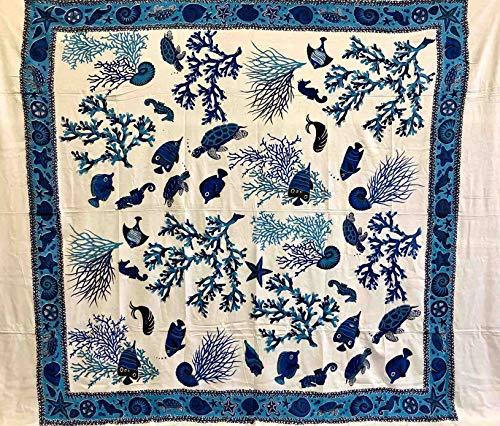 Telo arredo copritutto grande coral bianco azzurro 210x240 cm 100% cotone indiano stampato