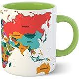 Tonkwalas Creative Wold Map Tea and Coffee Mug 325 ml Gift for Any Occasion (Green)