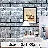Multifunktion Tapetenaufkleber Silber Grau Ziegel Kreative 3D Stein Ziegelstein Dekoration Schlafzimmer Wohnzimmer Wand Wasserdichte Tapetenbahn, Größe: 45 x 1000 cm Bequemlichkeit