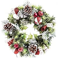 """11"""" Artificial Frosted Holly Christmas Wreath / Candle Ring with Candy Cane & Cones indoor & outdoor display"""