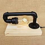 XSPWXN Retro Industrial Metall Schmiedeeisen Wasserrohr Schreibtischlampe Retro Nostalgie Industrial Style Tischleuchte Massivholz Tischleuchte für Schlafzimmer Cafe Study Tischleuchte Eith Online Button Switch