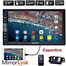 Nueva Marca upgarde versi?®n de 7 pulgadas de pantalla t?¢ctil capacitiva de audio (Espejo Enlace para el GPS del tel??fono Android) Est??reo Doble 2 din coche de Bluetooth en el tablero de radio video magn??tico Sin reproductor de DVD + c?¢mara de v