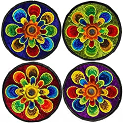 imzauber Bosque 4pieza Flower Power parches arco iris Flores (por 8cm Diámetro, UV activo, con espejo) Flores hippie Goa parche Pack ARCO IRIS