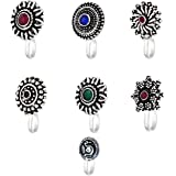 Yellow Chimes Beautiful Classic Designs 6 Pcs Combo Silver Oxidized Finishing Without Piercing Nose Pins for Women & Girls