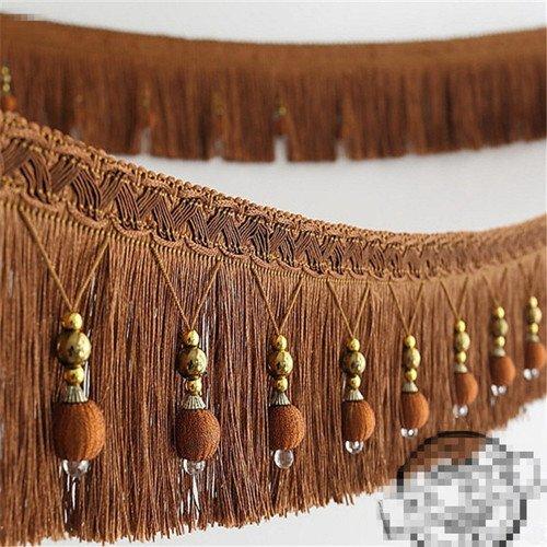 Stoffband, Läufer, 1,82 m geflochtene Perlen, hängende Kugelquaste, Fransenrand, Stoff mit Applikation - Vorhang, Tisch, Hochzeitsdeko braun