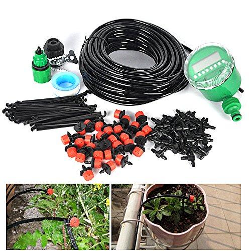 Automatique DIY Kits d'irrigation 25m Réglable Irrigation Goutte À Goutte Arrosage Micro Arroseur Avec 30 Pcs Dripper & Fixe Potence Pour Jardin Serre Avec Programmateur électronique