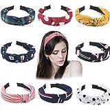 AaAairaa Women's Korean Style Solid Fabric Knot Plastic Hairband Headband Set of 6 Multicolour