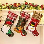 حقيبة جوارب هدية جوارب عيد الميلاد جوارب عيد الميلاد 3 قطع، ديكورات حقيبة الحلوى، ذات طابع سانتا كلوز، رجل الث