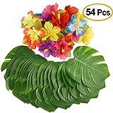 """Kuuqa 54 piezas decoración tropical fiesta suministros 8 """"hojas de palmera tropical y flores de hibisco, hoja de simulación para Hawai fiesta luau Jungle Beach tema decoraciones de mesa"""