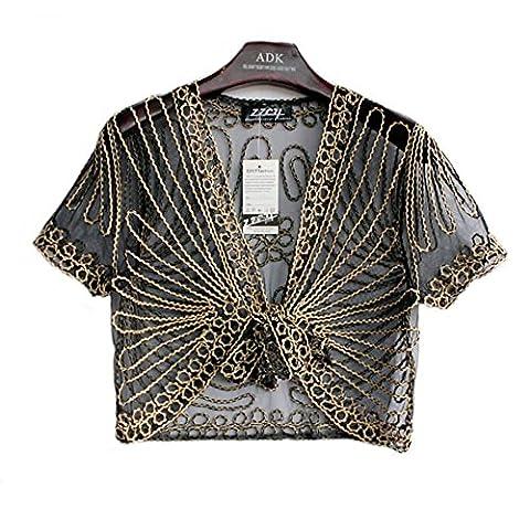 Women's Ladies Girls Short Sleeved Lace Mesh Gauze Crochet Knitted Embroidered Cropped Crop Bolero Shrug Waistcoat Cardigan Jacket Top Shawl Wrap Wedding Party Evening Prom Wear (16 UK, Black with Gold