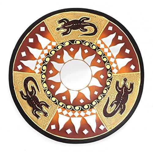 Feng Shui Spiegel Dekospiegel Gecko Eideckse Ø 30 cm handgefertigt aus Holz braun rot, Wanddeko Wandsymbol Sonne Sonnenspiegel, Chi Energie lenken, Dekosonne