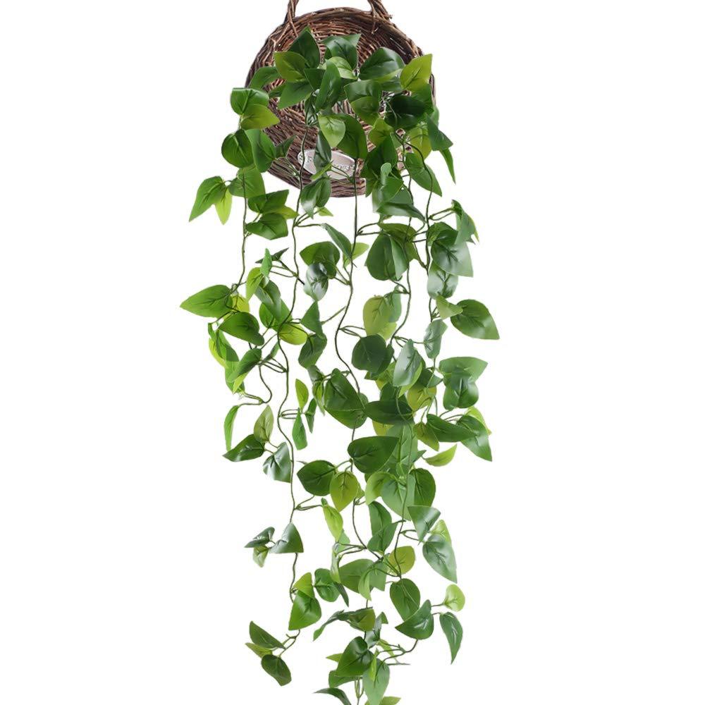HUAESIN Enredadera Artificial Colgante 105cm Planta Artificial Colgante Hiedra Decoracion Hoja Guirnalda de Follaje Plastico Potos para Maceta Balcon Cocina Jardin Baño Valla Exterior Interior Verde