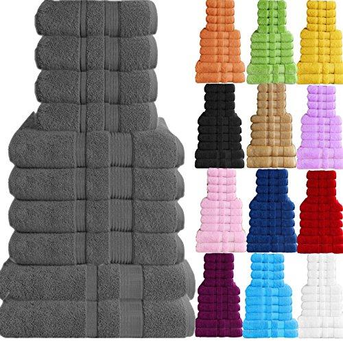 5er Set Handtuch Handtücher Badetuch Duschtuch Gästetuch Baumwolle Sauna Hamam (Dunkelgrau)