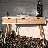 Weißer Konsolentisch aus Holz mit drei Schubladen im skandinavischen Retro-Design