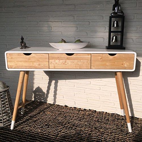 Weißer Konsolentisch aus Holz mit drei Schubladen im skandinavischen Retro-Design 120 x 30 x 80 cm - natur Kommode Anrichte Sideboard Wandtisch Retro neu