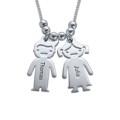 Special gift for mum silver necklace with engraved children special gift for mum silver necklace with engraved children charms personalise with 2 names amazon jewellery mozeypictures Images