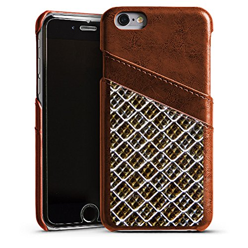 Apple iPhone 6 Housse Étui Silicone Coque Protection Grillage Grillage Motif Étui en cuir marron