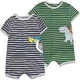 Bebé Verano Pelele Manga Corta Niñas Niños Pijama de Algodón Mameluco Monos Trajes para Infantil 3-6 Meses