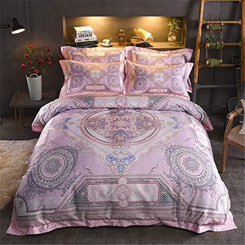 RENYAYA Luxus Satin Jacquard Bettwäsche-Sets Chic Vintage Muster Toile mit Reißverschluss Tröster Set enthalten 1 Bettbezug 1 flaches Blatt 2 Kissenbezüge,2.2M -
