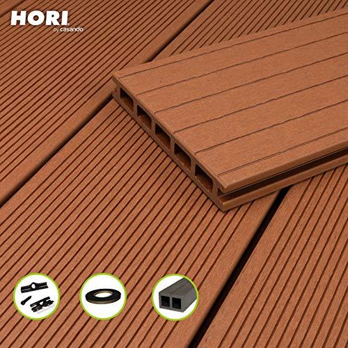 HORI® WPC-Terrassendiele Komplettset Aktion Hohlkammer Hellbraun I Fläche: 1 Muster I Muster Dielenlänge