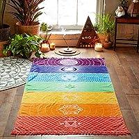 Luwu-Store Colchoneta de Yoga Arco Iris 7 Chakra Rayas Toalla de Playa Colgante de Pared de Verano Mandala Manta de Viaje Protector Solar Mantón Hippy Boho
