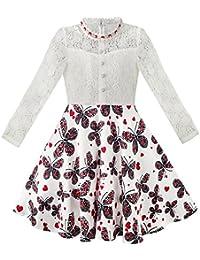 Mädchen Kleid Schnüren Perle Pflaume Blüte Elegant Prinzessin Kleiden Gr. 116-158