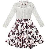 Mädchen Kleid Schnüren Perle Pflaume Blüte Elegant Prinzessin Kleiden Gr. 158