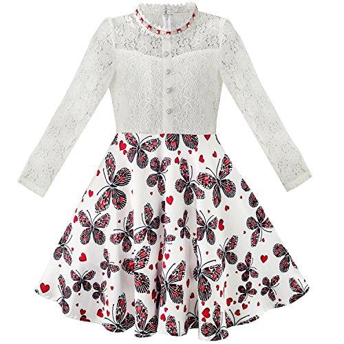 Mädchen Kleid Schnüren Perle Pflaume Blüte Elegant Prinzessin Kleiden Gr. 116