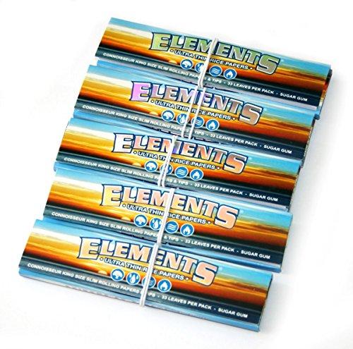 Elements Connoisseur Kingsize ULTRADÜNN SLIM Reis Zigarettenpapiere - Elements Connoisseur Kingsize Ultra-Dünn, Pack of 5 booklets