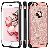 BENTOBEN iPhone 6 Plus Hülle, iPhone 6s Plus Hülle, iPhone 6 Plus Schutzhülle stoßfest 2 in 1 Hybrid PC TPU Cover Glitzer Hülle für iPhone 6 Plus / 6s Plus Roségold